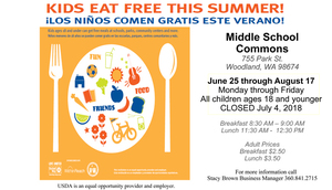 Kids eat free this summer from June 25 through August 17, 2018!