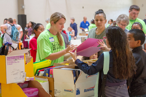 Woodland Public Schools' Back to School Bash 2018 gave away nearly 800 free backpacks to students in need attending Woodland, Kalama, and La Center school districts
