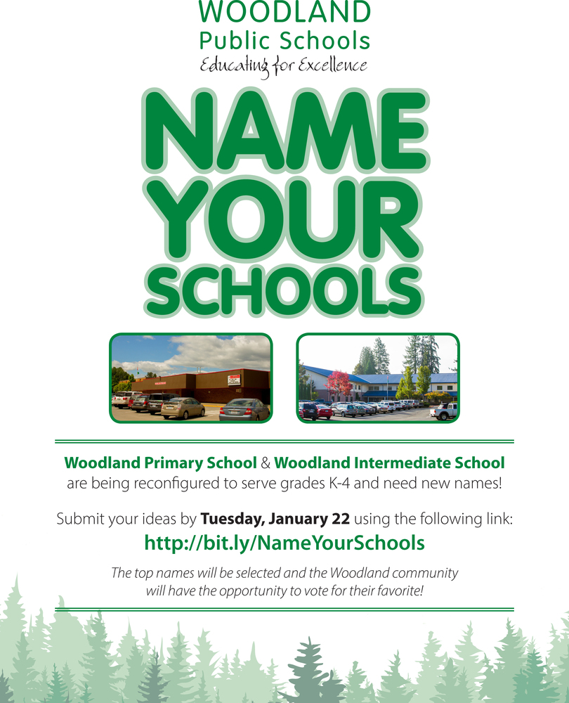Name Your Schools - Woodland Primary & Woodland Intermediate need new names!
