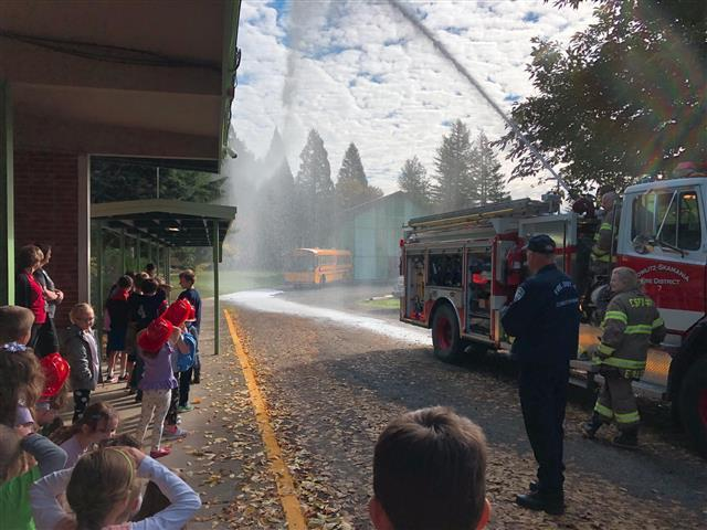 Yale Elementary students learned fire safety from visiting firefighters