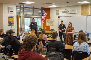 Woodland Police visit Woodland High School government class to discuss citizens' rights and the Constitution