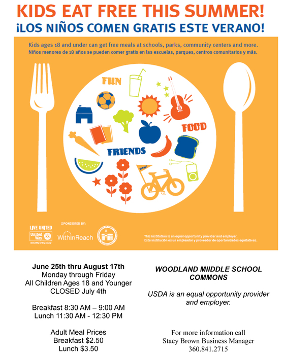 Kids eat free breakfast and lunch this summer at WMS from 6/25-8/17 8:30-9:00am, 11:30am-12:30pm