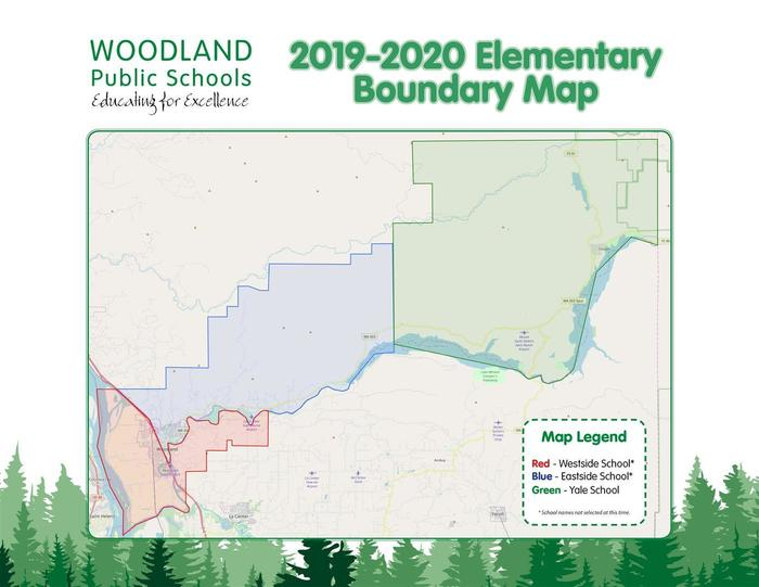 Woodland Public Schools Elementary Boundary Map for 2019-2020