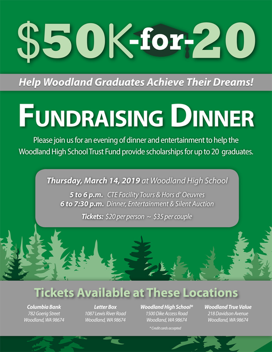Come to the $50k-for-20 Fundraising Dinner on Thursday, March 14