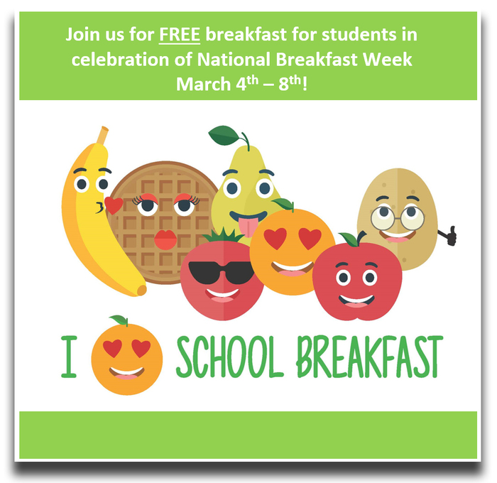 National School Breakfast Week is March 4-8, 2019