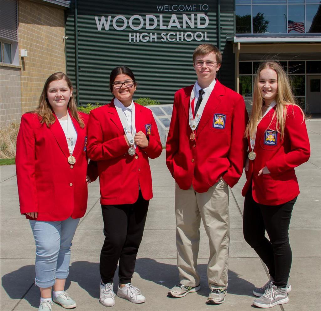 Woodland High School's SkillsUSA medal winners (from left to right): Katelyn Paulson, Camila Avelar, Caleb Mouat and Brooke Schimmel.