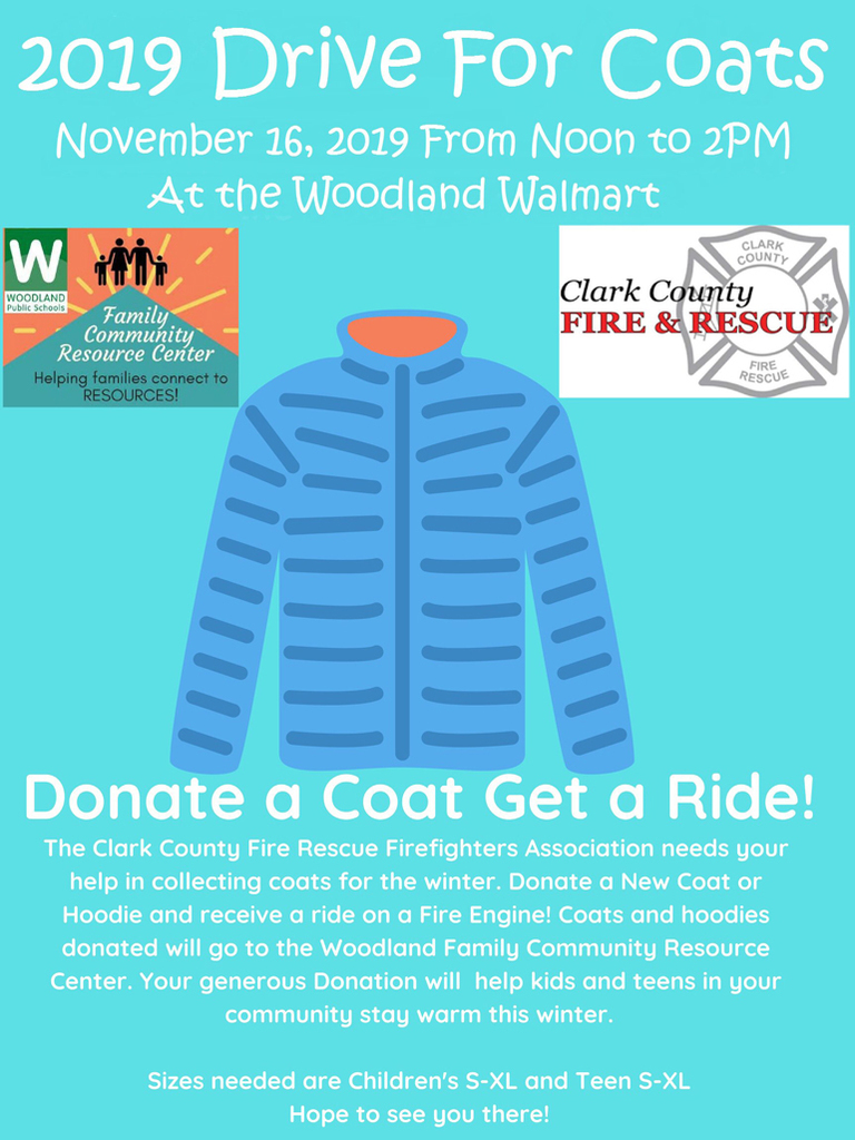 Join us for FCRC's 2019 Coat Drive on Saturday, November 16 from 12-2pm at the Woodland Walmart!