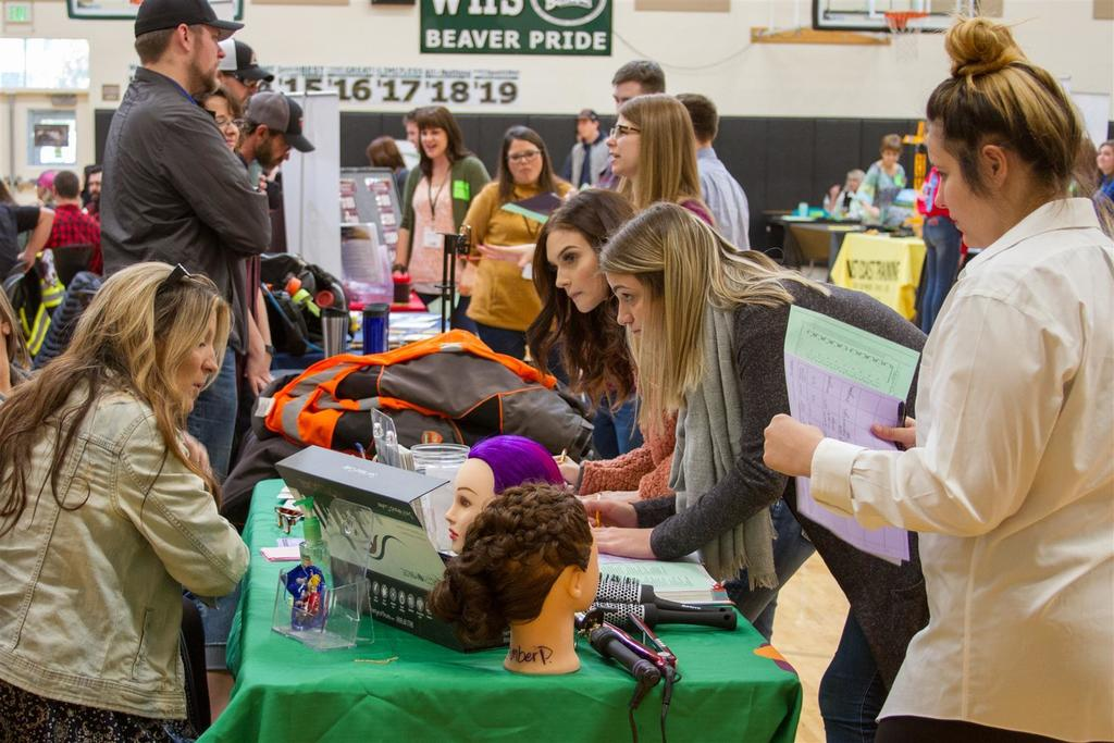 69 local businesses attended the Career Explorations fair to teach students about the career opportunities available locally
