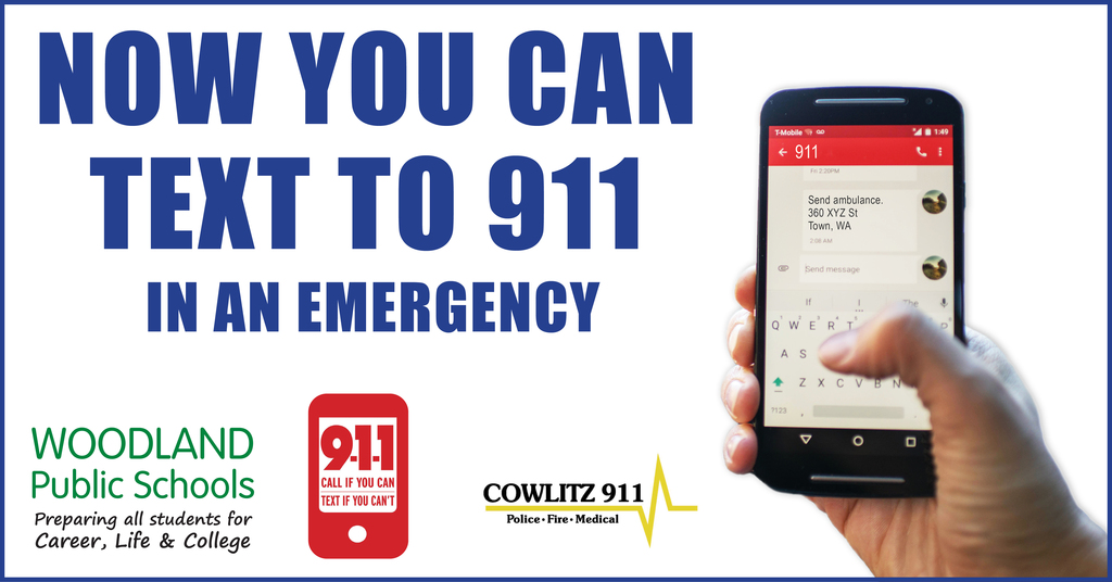 Cowlitz County residents can now text 911 during an emergency. Visit www.cowlitz911.org to learn more!