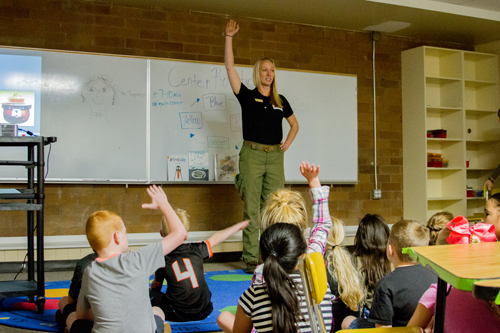Amanda Dales, USDA Forest Service School Instructor and firefighter, taught students how to be safe and enjoy the nation's parks and forests