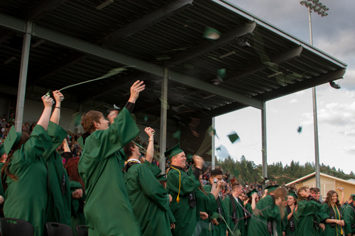 The Class of 2018 celebrated the end of their commencement ceremony with the traditional cap toss
