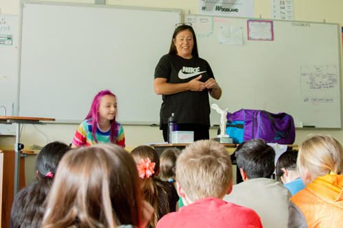 Corinn Campbell, a seamstress for Nike, taught students about working Nike as well as the challenges designing clothes for professional athletes.