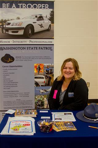 Heather Kavanagh, Communications Supervisor for the Washington State Patrol, spoke with students about employment opportunities in law enforcement