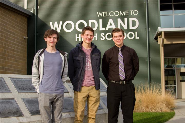 Orion Hollar, Michael Gabalis and Evan Ailinger earned perfect 800 scores on the math section of the SAT