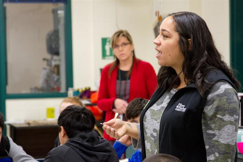 Shantelle Davidson, a community outreach specialist for Fibre Federal Credit Union, guided Woodland's eighth graders through a variety of activities teaching the importance of education.
