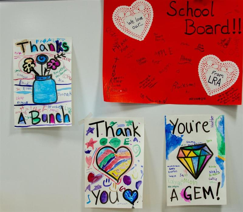 Students and staff from each school created banners to thank the Board of Directors