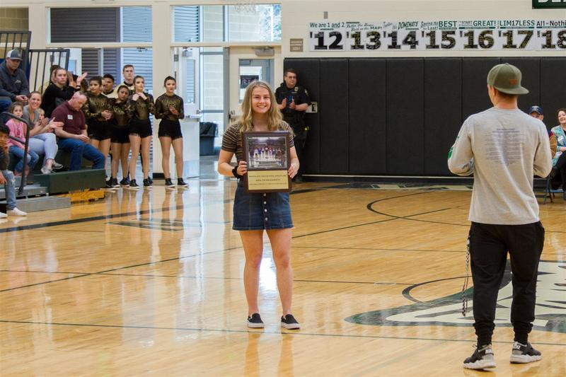 Ashlyn Daugherty was also recognized for being the first female wrestler from Woodland High School to compete in the State Championship and win the statewide championship.