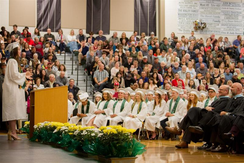 Audrey Adams, one of two senior speakers, told her classmates to remember the time they had together during their academic careers at Woodland High School.
