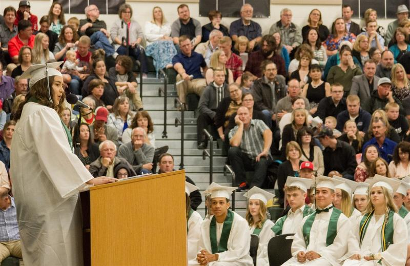 Shekiah Dunlop, the second senior speaker, reminded her classmates to surround themselves with friends and family who support their dreams and goals.