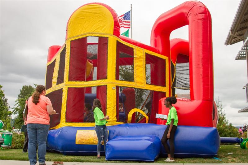 Families could also play games or jump around in the bounce houses