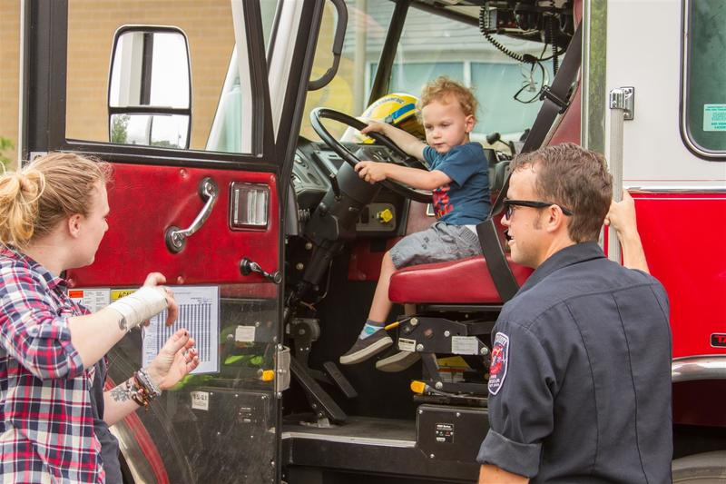 The Woodland Fire Department gave kids tours of one of their ladder trucks