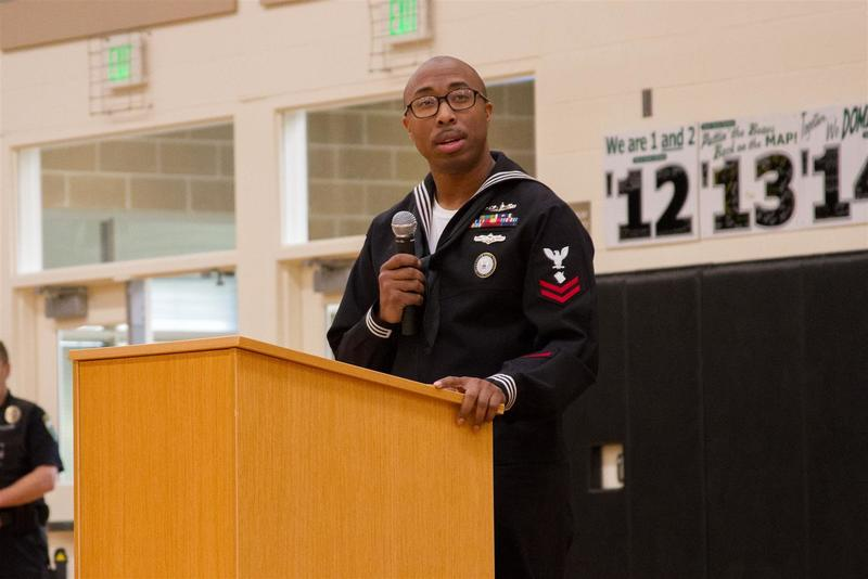 Petty Officer 2nd Class James Sturdivant encouraged students to serve their country by volunteering, performing community service, and helping others.